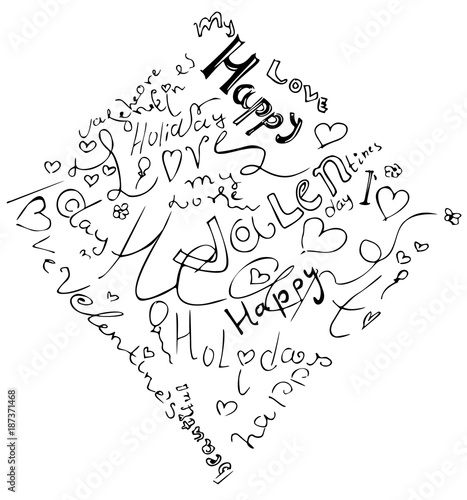 Happy valentine day heart from symbol. Included happy valentines day and love with holiday words. Black and white hand drawing vector illustration of rhombus shape. - 187371468