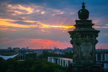 Berlin cityscape at sunset