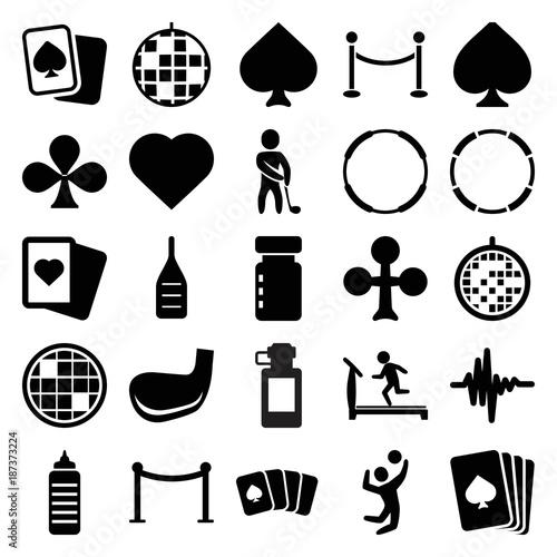 Club icons. set of 25 editable filled club icons
