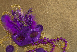 Mardi Gras Mask on Gold Glitter with Beads - 187374680