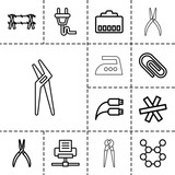 Wire icons. set of 13 editable outline wire icons - 187380650