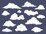 Set of cartoon clouds. Fluffy cloud vector illustration - 187381866