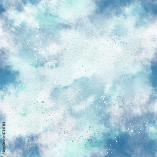 Materiał do szycia Watercolor effect, clouds, vanished. Seamless pattern