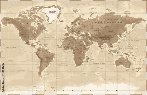 Fotobehang Wereldkaarten World Map Physical Vintage - vector