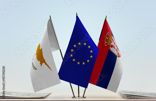 Papiers peints Chypre Flags of Cyprus European Union and Serbia