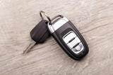 Car key on a wooden background
