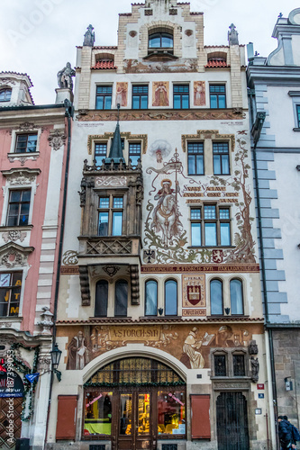 Poster Praag Building with sgraffito in Prague