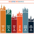 city infographics, cityscape, city skyline, city silhouette, cities vector icons set, megacities, landmarks, cities of the world