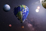 Travel concept. Aerostat covered in texture of planet on a space background. Concept of colonization. - 187401292