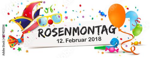 Banner mit bunten Faschingsmotiven, Narren Mütze, Brille und Luftballons - Rosenmotag Termin 2018 - 187402036