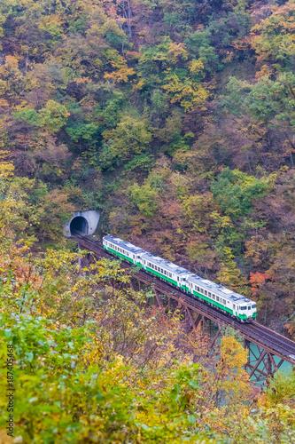 In de dag Spoorlijn Tadami line at Mishima town , Fukushima in autumn