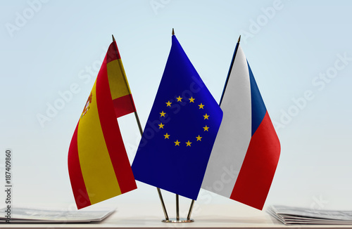 Flags of Spain European Union and Czech Republic Poster