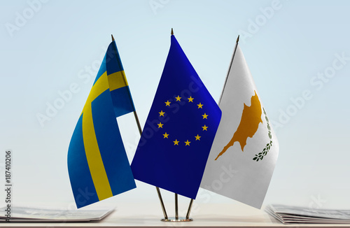 Staande foto Cyprus Flags of Sweden European Union and Cyprus