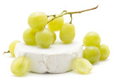 Grape bunch on hermelin cheese (Early Sweet or Grapaes variety, green, ripe) isolated on white background. - 187411207