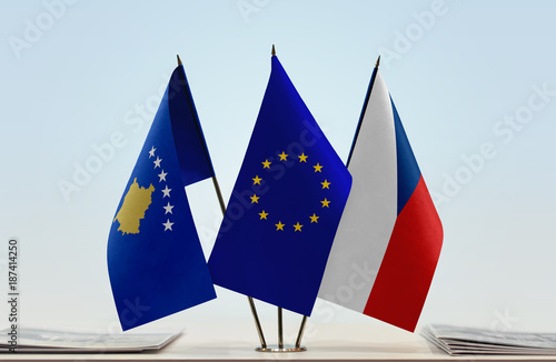 Flags of Kosovo European Union and Czech Republic Poster