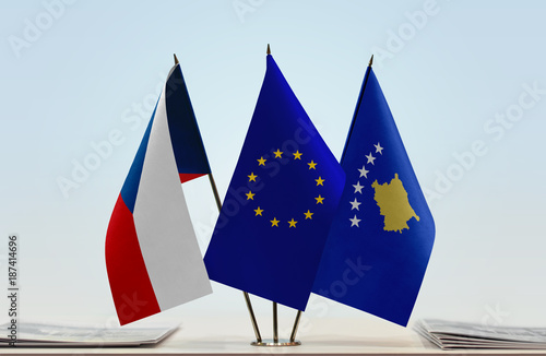 Flags of Czech Republic European Union and Kosovo Poster