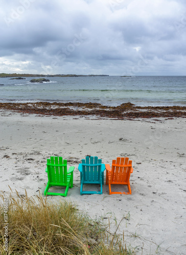 Colorful chairs at beach in Norway - 187416887