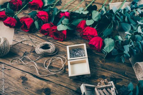 Modern flower bouquet from professional florist in flower shop