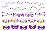 Set, collection of vector hand drawn borders for Mardi Gras party design with colorful masks, beads and flags. - 187425299