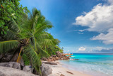Sunset at tropical beach in Seychelles. - 187425804
