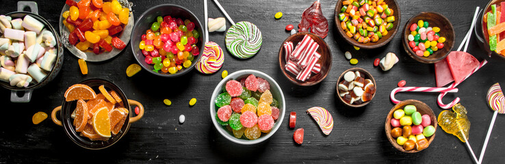 Different sweet candy, jelly and candied in a bowl. © Artem Shadrin