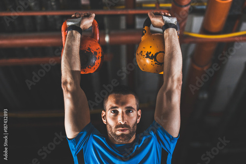 Fotobehang Fitness Handsome Young Man Exercising
