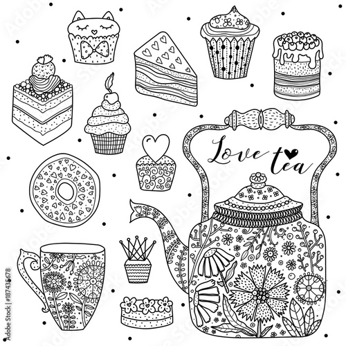 Happy tea. Coloring page.