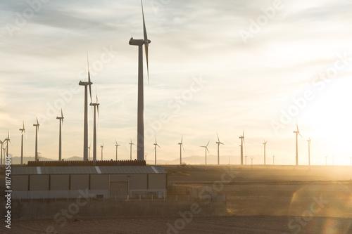 Wind turbines in Zaragoza Spain