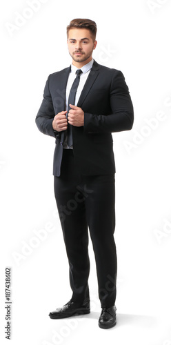 Foto op Aluminium Kasteel Handsome man in formal suit on white background