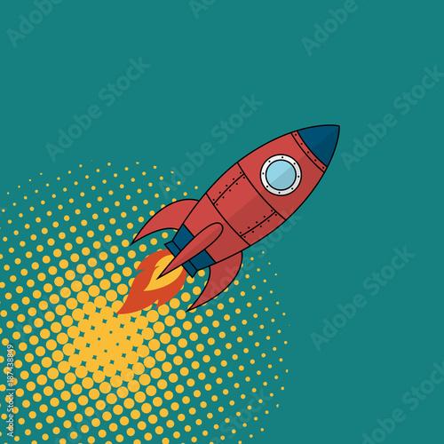 Fototapeta Space rocket comics book style.