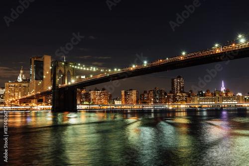 Brooklyn bridge of New York in the night.