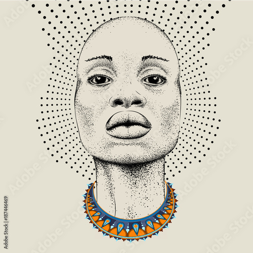 African woman with African in beads, tribal background. Beautiful black woman.  Vector illustration - 187446469