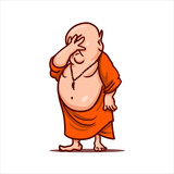 Cartoon illustration. Street art work or sticker with funny character. Upset Buddha put his hand to face and closed his eyes. Facepalm gesture. - 187447424
