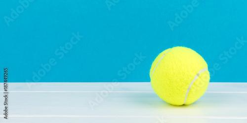 Aluminium Tennis tennis ball with blue background panorama
