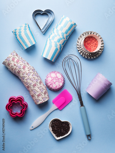 Foto Murales Sweet baking concept. Girlish style. Mother valentine day sweet gift preparation. Birthday party