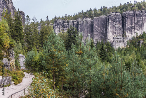 """""""Temple Wall"""" rocks formation in Teplice Rocks, part of Adrspach-Teplice landsca Poster"""