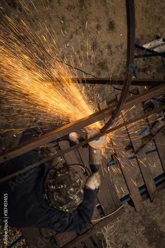 Sparks from metal at the construction site
