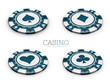 3d Illustration of Casino chip with card suits isolated white background.