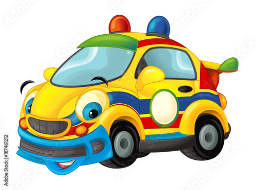 Cartoon sports car smiling and looking - illustration for children - 187461212