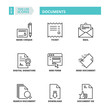 Thin line icons. Documents