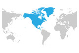 North America continent blue marked in grey silhouette of America centered World map. Simple flat vector illustration.