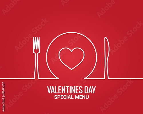 Valentines day menu. Fork and knife with plate line. - 187475657