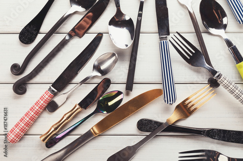 Sticker Collection of modern and antique cutlery, top view