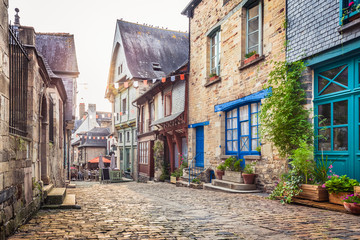 Charming street scene in an old town in Europe at sunset © JFL Photography