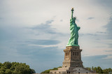 The statue of Liberty, an american landmark on liberty island next to ellis island in NYC, New York, USA with copy space - 187477806