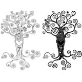 A tree with a heart and patterns. Stylized tree on a white background.
