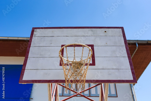 Fotobehang Basketbal Basketball hoop on blue sky background.