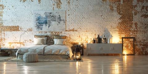 panorama vintage bedroom in front of industrial brick wall - bed in altem fabrik loft