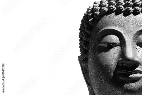 Fotobehang Boeddha face of buddha statue isolated on white background