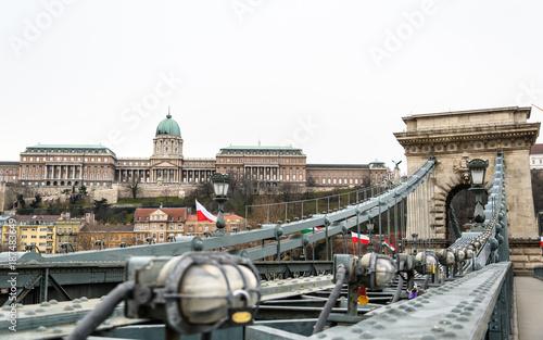 Fotobehang Boedapest Chain Bridge and Buda Castle, Budapest, Huingary